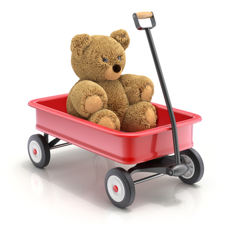 pushcart: Teddy bear in the vintage childs toy mini wagon  - 3D illustration Stock Photo