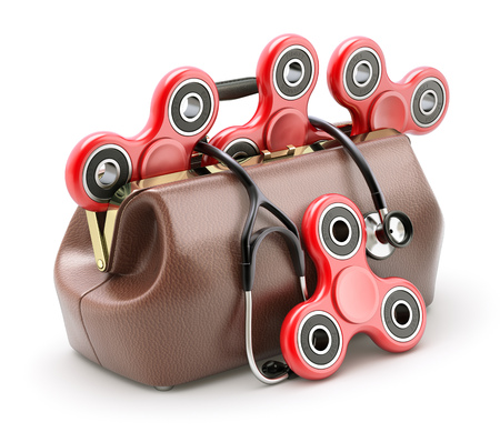 Fidget spinners for anti stress therapy in the doctor bag - 3D illustration