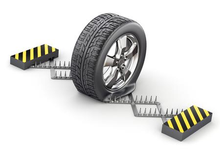 deflated: Flat tire on the spike strip