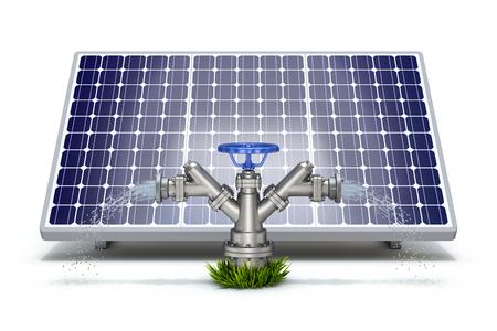 Solar irrigatie concept met zonnepaneel en water brandkraan
