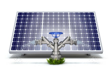 Solar irrigation concept with solar panel and water hydrant