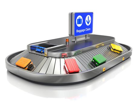 Luchthavenbagage vraagt vervoerder met kleurrijke gevallen Stockfoto