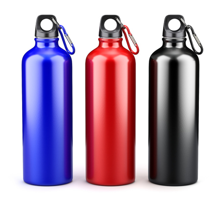 Metal water bottles on white background - 3d illustration