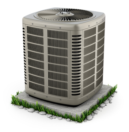 Heating and air conditioner unit on the stand - 3D illustration