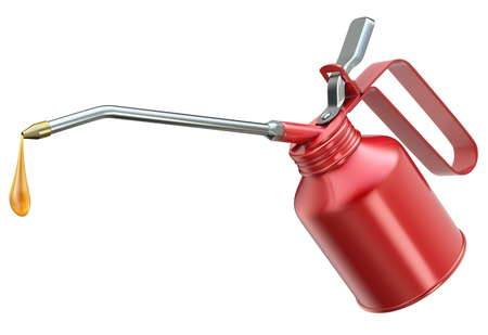 Red oil can with big droplet isolated on white background - 3D illustration