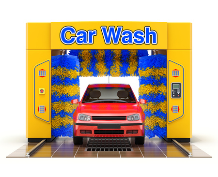 Automatic car wash machine with red car on white background - 3D illustration Stock Photo