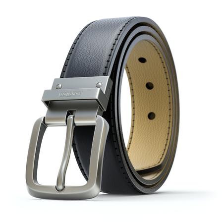 Black leather belt on white background - 3D illustration Stock Photo