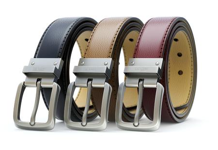 Set of three colorful leather belt on white background - 3D illustration