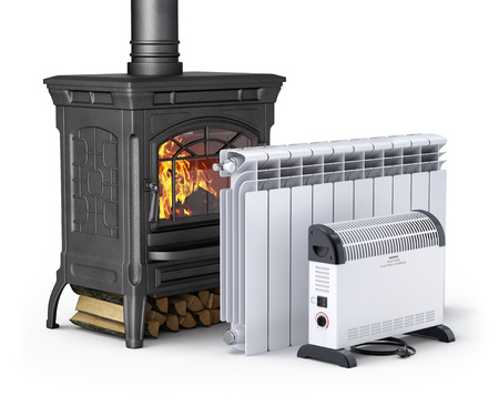 Wood burning stove, radiator and convector heater - 3D illustration Zdjęcie Seryjne