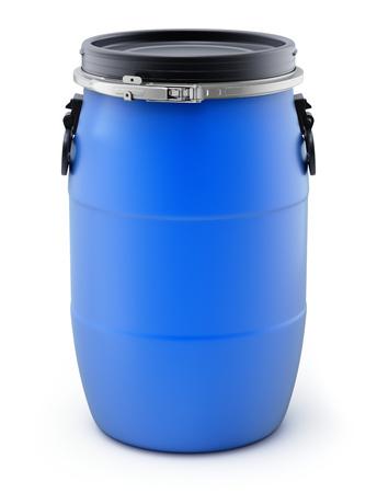 Blue plastic storage barrel on white background - 3D illustration