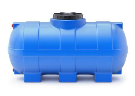 Cisterna plástica azul del agua en el fondo blanco - ilustración 3D