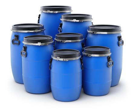 Blue plastic storage barrels on white background - 3D illustration
