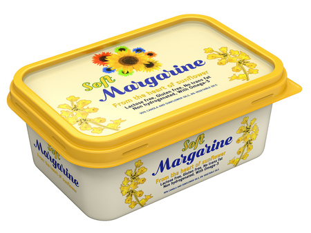 Margarine box with abstract design isolated on white background - 3D illustration Editoriali