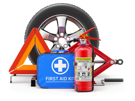 Car fire extinguisher, first aid kit, car wheel, scissor jack and warning triangle - 3D illustration