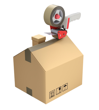 Packaging tape dispenser and prefabricated house in the cardboard box - 3D illustration