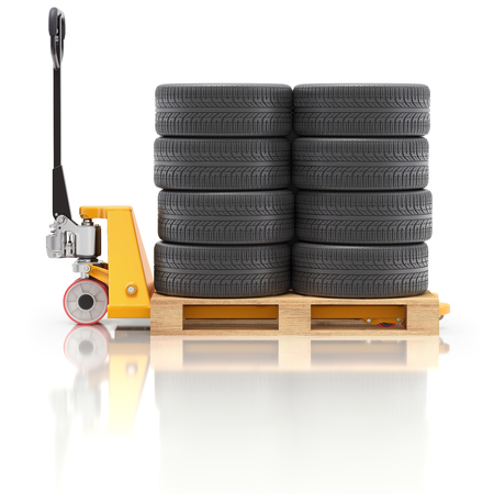Pallet jack with car tire on wooden pallet - 3D illustration