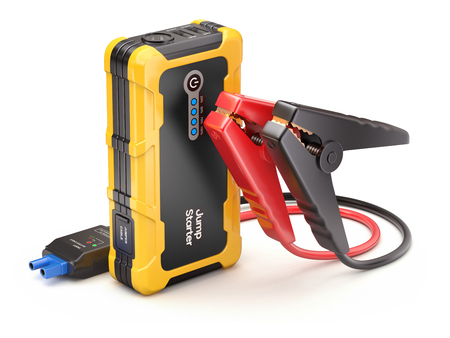 Modern car emergency jump starter set and power bank - 3D illustration Stock Photo