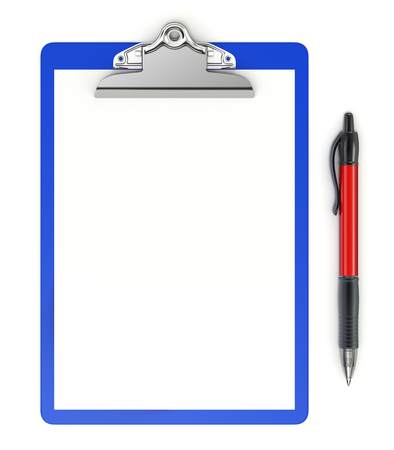 Clipboard with ball pen on white background - 3D illustration