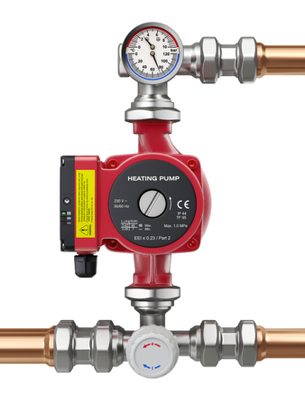 Heating water pump with manometer, thermometer and valve - 3D illustration Stockfoto
