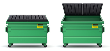 Open and closed green dumpster - 3D illustration Stok Fotoğraf