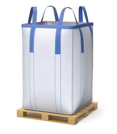 Big bulk bag on wooden pallet - 3D illustration Фото со стока