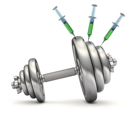 Doping concept with asymmetrical dumbbells and syringes - 3D illustration Stock Photo