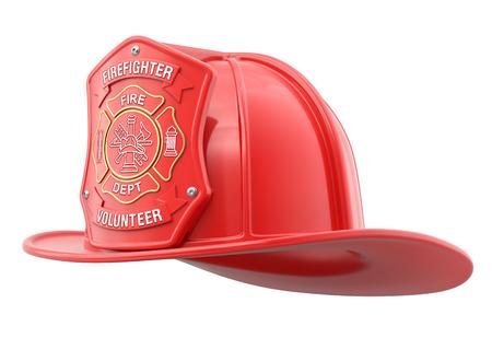 Volunteer firefighter helmet isolated on white background - 3D illustration