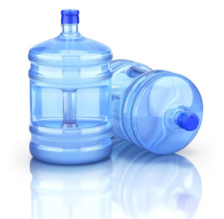 Two water dispenser bottle on reflective background - 3D illustration