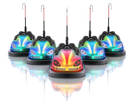 Leadership concept with electric bumper cars over white reflective background - 3d illustration Stock Photo