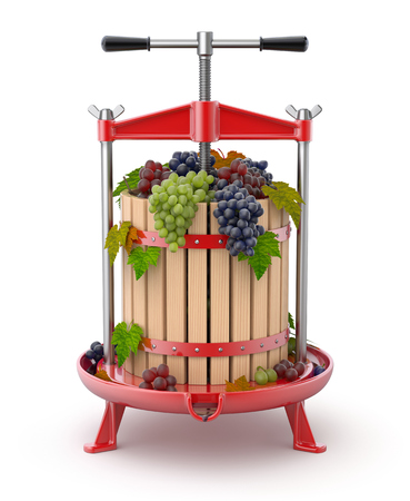 Traditional red fruit press with grapes inside - 3D illustration