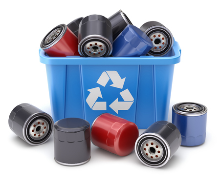 Car oil filters in blue recycle crate on white background - 3D illustration