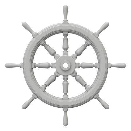 Ton-Render von Schiffslenkrad isoliert auf weißem Hintergrund - 3D-Darstellung