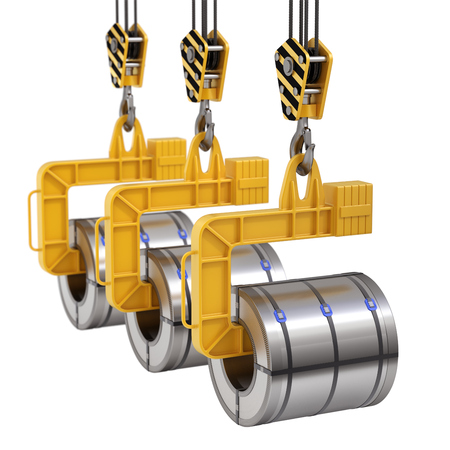 Row of coil lifter with steel coil and crane hook isolated on white background - 3D illustration Reklamní fotografie