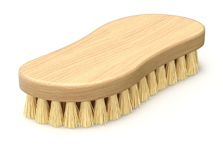 Retro wooden scrub brush on white background - 3D illustration
