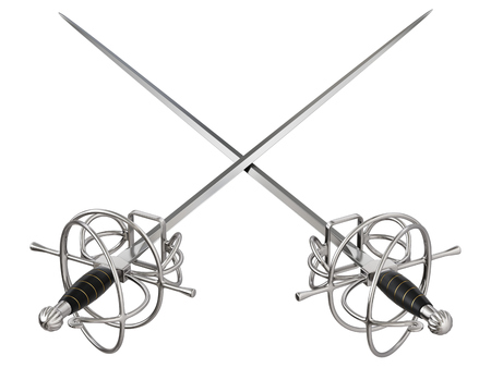 Crossed medieval fencing swords isolated on white background - 3D illustration