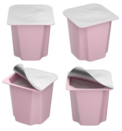 Unique fruit yogurt mockup with blank cover - 3D illustration Stok Fotoğraf
