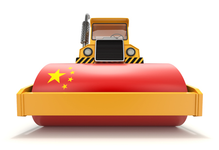 Chinas economic power concept with steamroller and flag of China