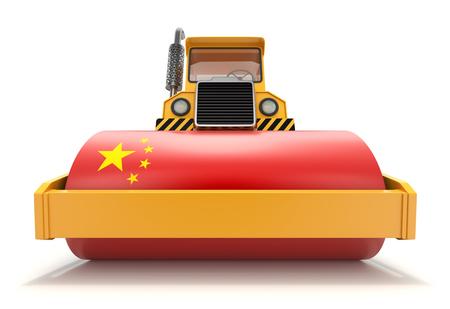 Concepto de poder económico de China con apisonadora y bandera de China Foto de archivo
