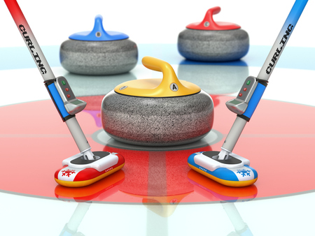 Curling scene with two curling brooms and stones - 3D illustration
