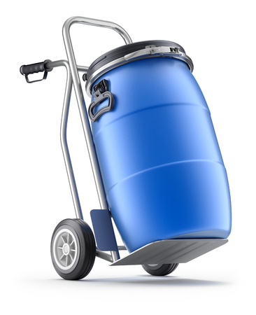 Hand truck with blue plastic barrel - 3D illustration Stockfoto