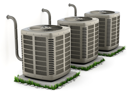 Heating and air conditioner units on the stand - 3D illustration Zdjęcie Seryjne