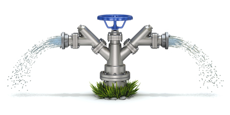 Irrigation hydrant and water jet on white background - 3d illustration