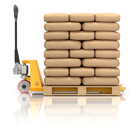 Cement bags and pallet jack on white reflective background - 3D illustration Stock Photo