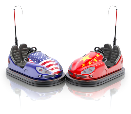 USA versus China business concept with bumper cars and flags - 3D illustration
