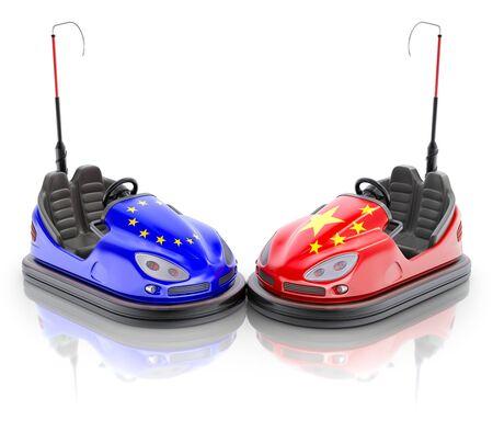 Concepto de negocio de la UE frente a China con coches de choque y banderas - Ilustración 3D