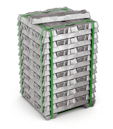 Aluminium alloy ingots on white background - 3D illustration