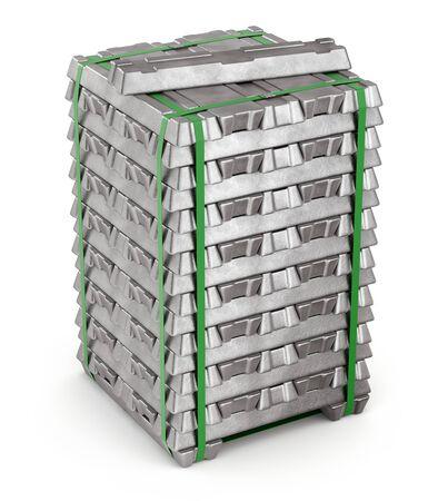 Lingots d'alliage d'aluminium sur fond blanc - illustration 3D
