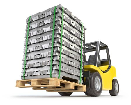 Forklift with aluminium alloy ingots on white background - 3D illustration