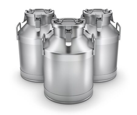 Milk cans with latch on white background - 3D illustration 写真素材