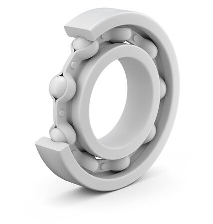 Ball bearing clay render of cutout section - 3d illustration